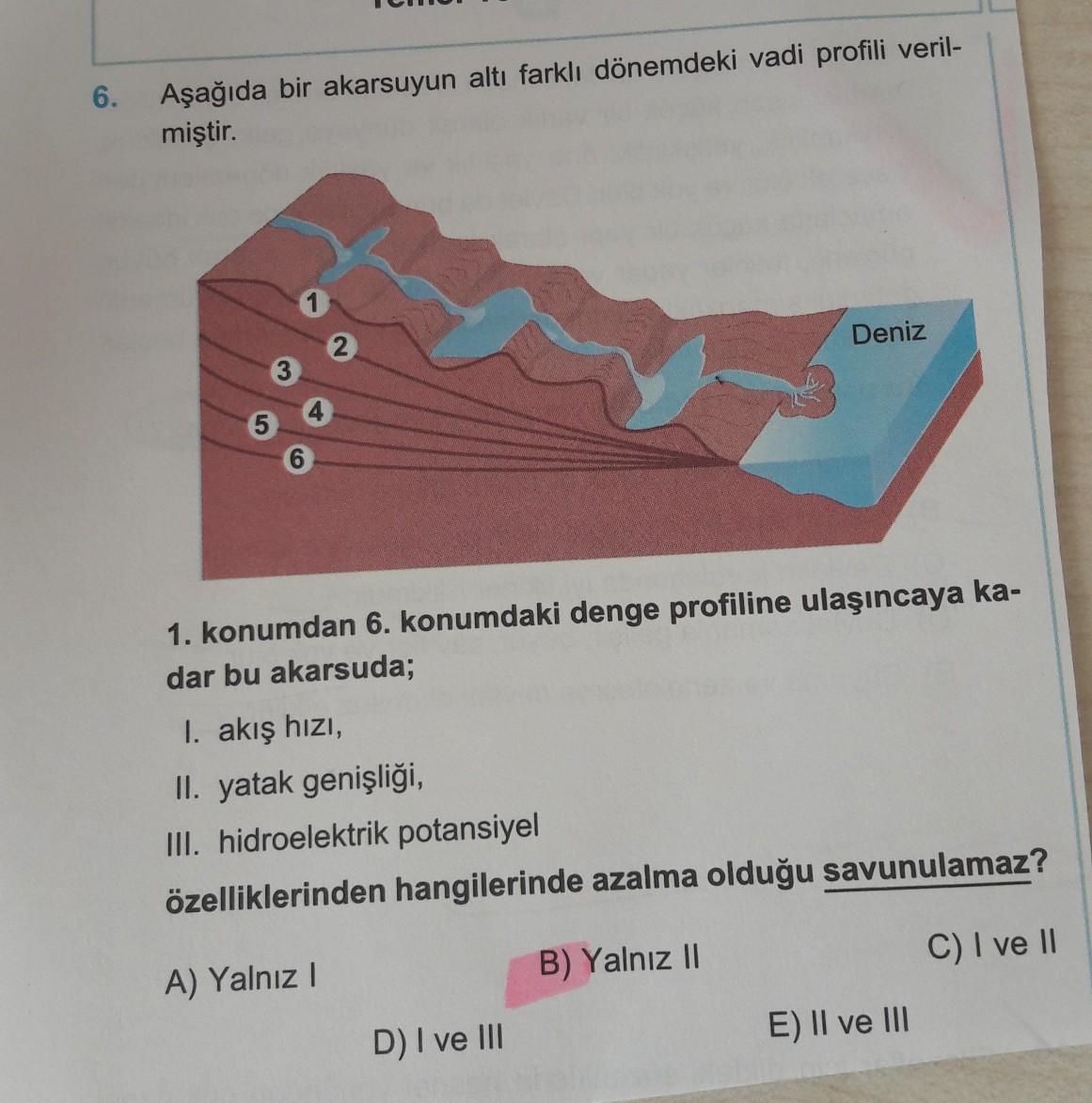 6. Aşağıda bir akarsuyun altı farklı dönemdeki vadi profili veril- miştir. 2 Deniz 5 6 1. konumdan 6. konumdaki denge profiline ulaşıncaya ka- dar bu akarsuda; I. akış hizi, II. yatak genişliği, III. hidroelektrik potansiyel özelliklerinden hangilerinde az