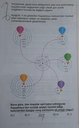 Yeryüzünde, genel hava dolaşımının yanı sıra yerel basınç koşullarındaki değişimlere bağlı olarak gün içinde rüzgârların hızında da değişim yaşanır. Aşağıda, X ile gösterilen Kapadokya merkezinden hareket eden balonların rotaları ve ulaştıkları yerler numa