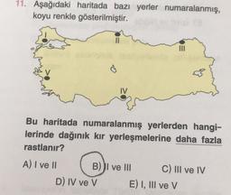 11. Aşağıdaki haritada bazı yerler numaralanmış, koyu renkle gösterilmiştir. IV Bu haritada numaralanmış yerlerden hangi- lerinde dağınık kır yerleşmelerine daha fazla rastlanır? A) I ve II B) I ve III C) III ve IV D) IV ve V E) I, III ve V