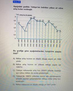 Soru 23 Aşağıdaki grafikte Türkiye'nin belirtilen yıllara ait nüfus artış hızları verilmiştir. Artış hızı (% yüzde) 3 2,9 2,8 2,5 2.5 2.5 2,5 2,5 2.1 2,2 2 2,2 2.1 R1,7 1,8 1,5 1 1,1 13 13 0,5 0 1927-1935 1935 - 1940 1940 - 1945 1945 - 1950 1950 - 1955 195
