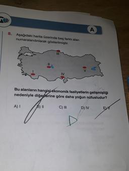 A 8. Aşağıdaki harita üzerinde beş farklı alan numaralandırılarak gösterilmiştir. IV Bu alanların hangisi ekonomik faaliyetlerin gelişmişliği nedeniyle diğerlerine göre daha yoğun nüfusludur? A) B) II C) III D) IV EW