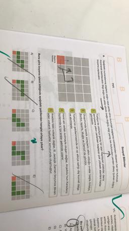 B Sosyal Bilimler B v TYT doğru) 8. Aşağıdaki numaralanmış bilgilerin doğru veya yanlış olma durumları başlama noktasından itibaren her bir kutucuk boyanarak belirtilecektir. Bilgi doğru ise yatay yönde (sağa doğru), bilgi yanlış ise bulunulan yerden dikey