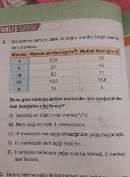 YANLIŞ SAYISI 9. Maksimum nem; sicaklık ile doğru orantılı, bağıl nem ile ters orantılıdır. Merkez Maksimum Nem (gr/m3) Mutlak Nem (gr/m3 10 1 12,5 II 15 21 22 11 IV 16,5 16,8 V 10 5 Buna göre tabloda verilen merkezler için aşağıdakiler- den hangisine ulaş