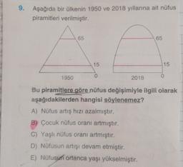 9. Aşağıda bir ülkenin 1950 ve 2018 yıllarına ait nüfus piramitleri verilmiştir. 65 65 15 15 0 1950 2018 Bu piramitlere göre nüfus değişimiyle ilgili olarak aşağıdakilerden hangisi söylenemez? A) Nüfus artış hızı azalmıştır. B) Çocuk nüfus oranı artmıştır.